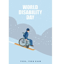 World Disabilities day Man in wheelchair goes to vector