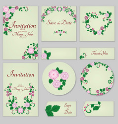 collection greeting cards with stylized gentle vector image vector image