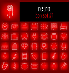 Retro icon set 1 white line icon on red gradient vector