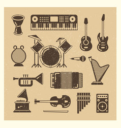 Classic music instruments grunge silhouettes set vector