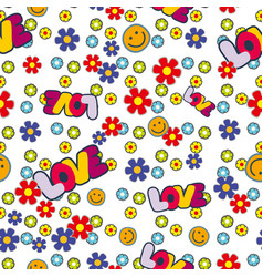 cute hippie seamless pattern design with flowers vector image vector image