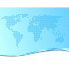 dotted world map on a technological background vector image vector image