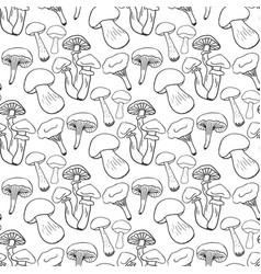 hand drawn mushrooms seamess pattern doodle vector image vector image
