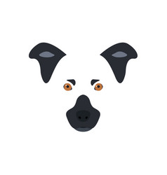 head of a black and white dog with orange eyes vector image vector image