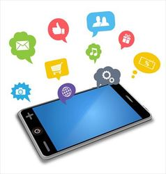 Smartphone and apps in speech bubbles vector image vector image