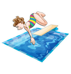 Woman jumping in the pool vector