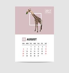 2017 August calendar giraffe polygon vector image vector image