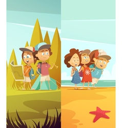 Camping Kids Vertical Banners Set vector image vector image