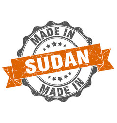 made in sudan round seal vector image vector image