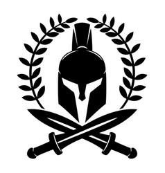 Warrior helmet and swords vector