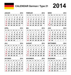 Calendar 2014 German Type 21 vector image
