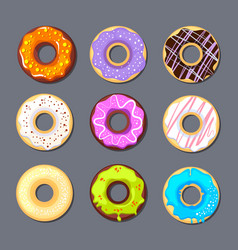 donut icon big set isolate vector image