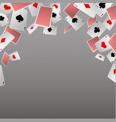 falling playing cards isolate template for vector image vector image