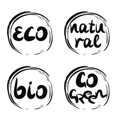 four logo with inscription bio natural go green vector image