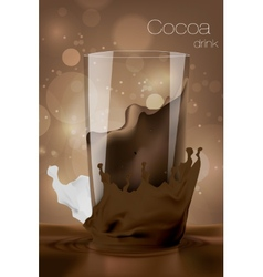 Glass of cocoa with milk in the coffee background vector image