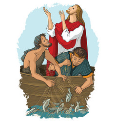 jesus and the miraculous catch of fish vector image vector image