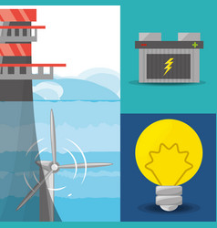 landscape related with tidal energy batery and vector image