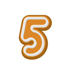 number 5 gingerbread font peppermint honey-cake vector image