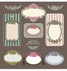 Set of retro roses vintage labels vector image vector image