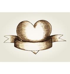 Sketch of a heart emblem vector image vector image