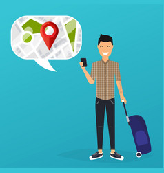 young man holding mobile smart phone with mobile vector image