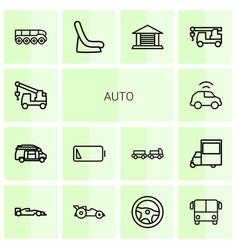14 auto icons vector image