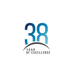 38 year excellence template design vector