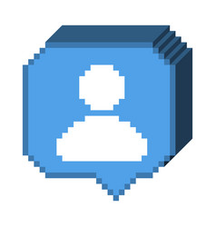 8 bit 3d subscriber icon vector
