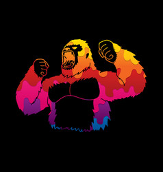Abstract angry king kong big gorilla vector