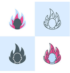 Anger concept icon set in flat and line styles vector