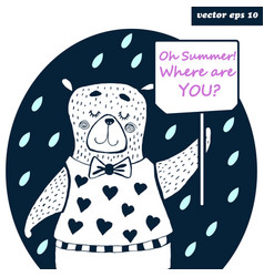 Bear is waiting for summer vector