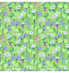 Beautiful wild flowers seamless pattern vector