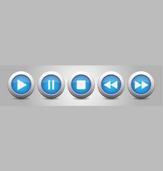 Blue metallic music control buttons set vector