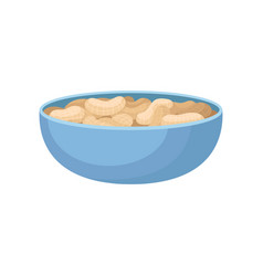 Bowl of peeled peanuts on a vector
