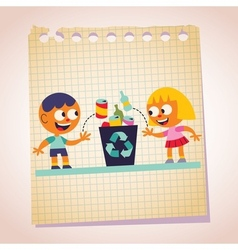 Boy and girl recycling note paper cartoon vector