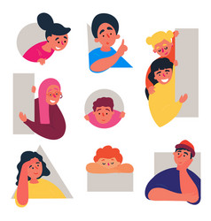 boys and girls doodle set people in various holes vector image
