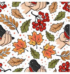 Bullfinch in hands autumn seamless pattern vector