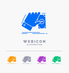 business hand money earn dollar 5 color glyph web vector image
