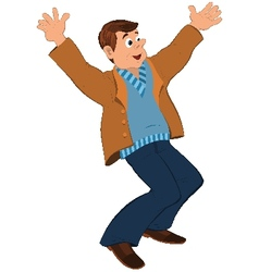 Cartoon man in blue sweater and brown jacket vector