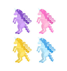 cartoon unicorn set vector image