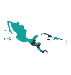 Central american map isolated icon vector