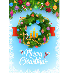 christmas tree wreath with balls and snowflakes vector image