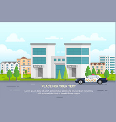 city police station with place for text - modern vector image
