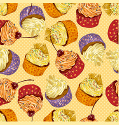 colorful delicious cupcakes seamless pattern vector image