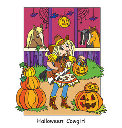 colorful halloween cute little witch flying vector image