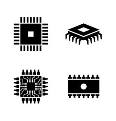computer chips electronic circuit simple related vector image