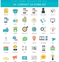 Contact us color flat icon set Elegant vector