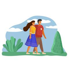 couple walks in summer landscape city park trees vector image