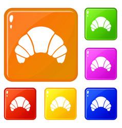 Croissant icons set color vector