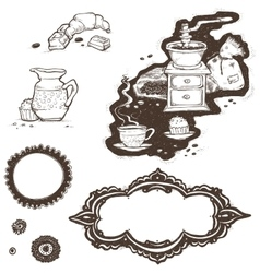 cup coffee grinder grains and frames vector image